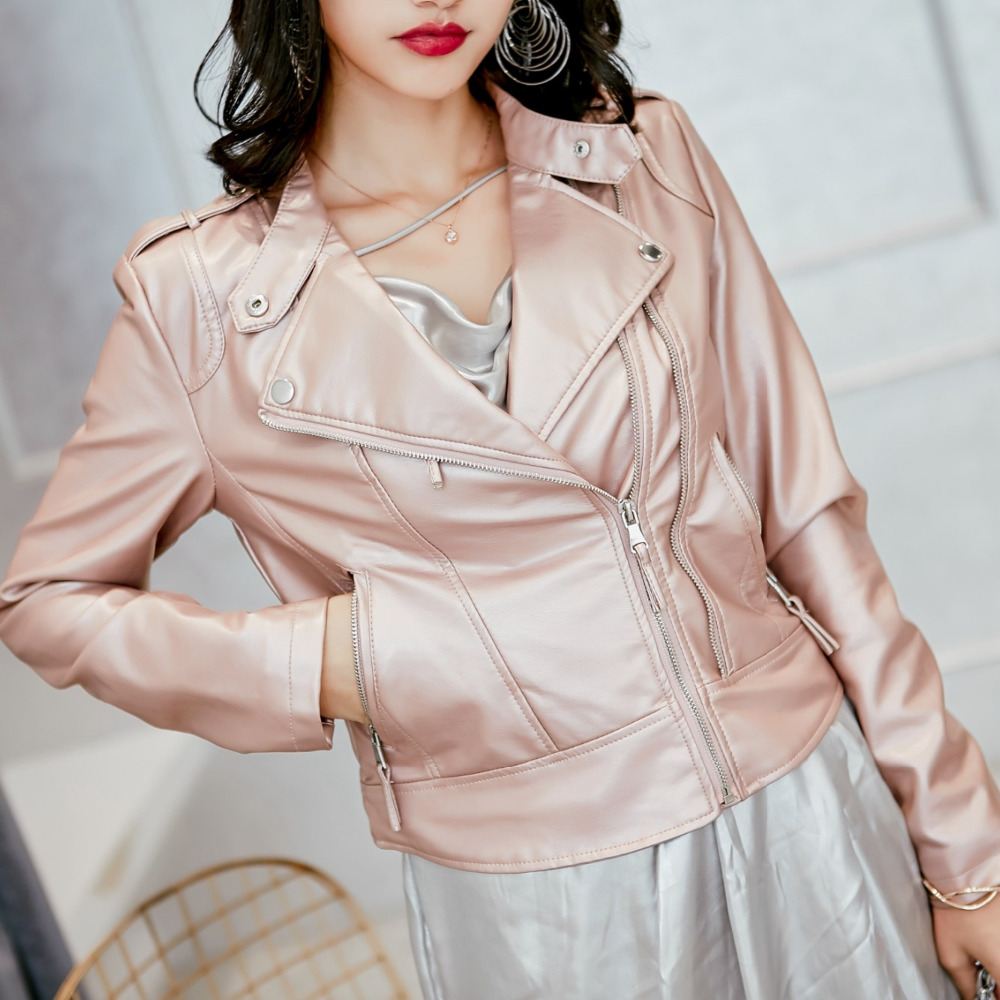 2017 Fashion spring Autumn Women Brand Faux Soft   Leather   Short Jackets PU Black pink Yellow Zippers Long Sleeve Motorcycle Coat