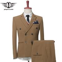 Plyesxale двубортный костюм Для мужчин 2018 модный бренд Для мужчин Костюмы Slim Fit Для мужчин S Костюмы Свадебные Жених хаки, серый q441