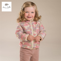 DB4258 davebella autumn baby girls camouflage outerwear baby hooded coat babi outerwear baby clothes