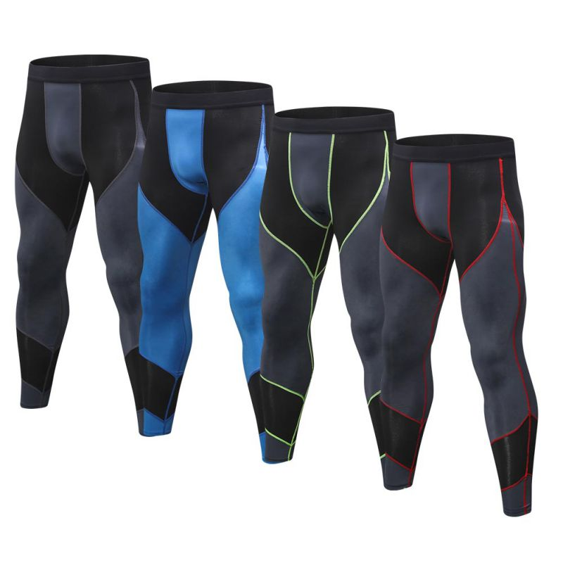 Men Sports Tights Running Training High Elastic Fitness Trousers Quick-Drying Bottoming Print Stitching Pants(China)