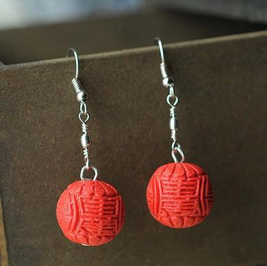 Perfect Red Carved Cinnabar Earrings Fashion Women S Lacquerware Jewelry Round 925 Silver Dangle Earring C 27 In Drop From