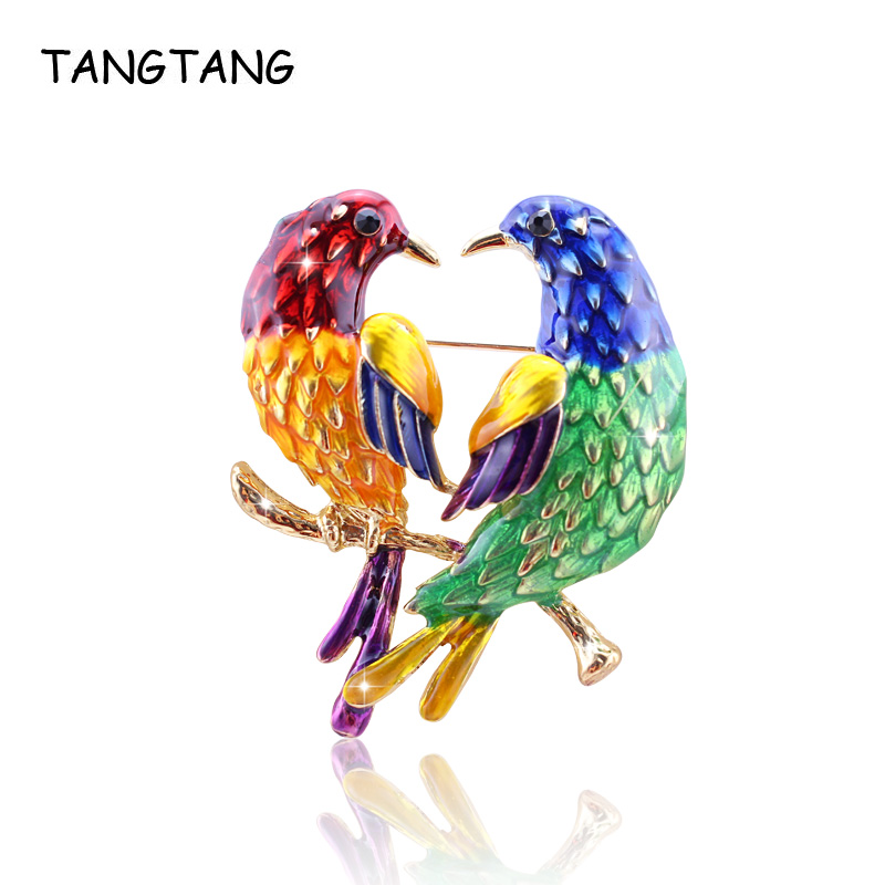 Big Promption Multicolor Enamel Double Bird Brooches Pins Femme Girl Gold Corsage Clip Clothes Scarf Clamp Decoration For Women
