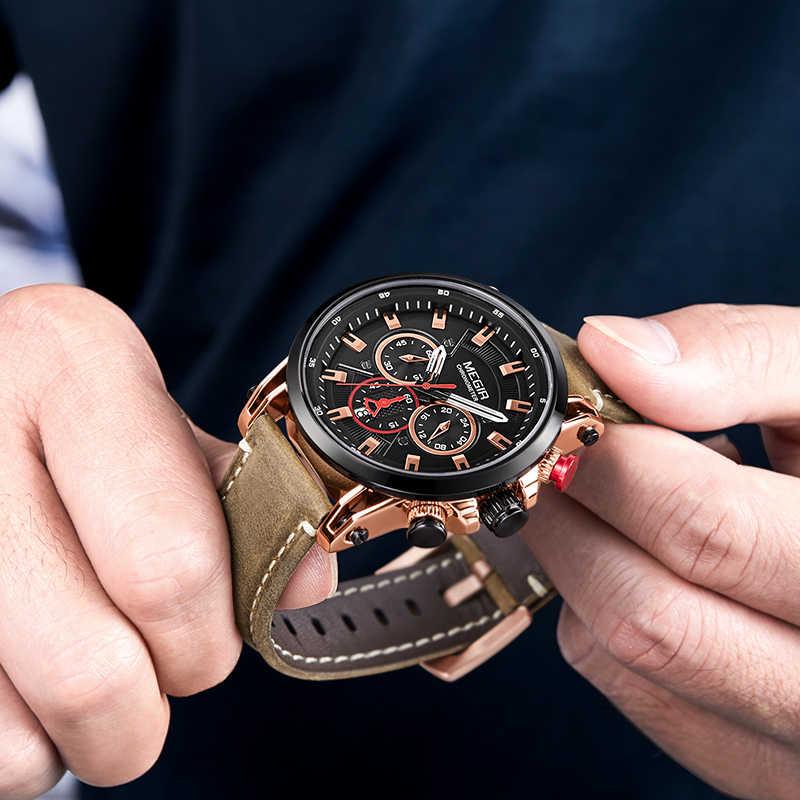 MEGIR hommes sport montres haut de gamme en cuir de luxe montre à Quartz hommes horloge étanche armée militaire montres Relogio Masculino