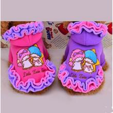 Фотография Double stars printing for small baby dog lace design warm coats pet dog clothes for fall and winter clothes for small dogs