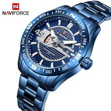 NAVIFORCE Luxury Brand Men Stainless Steel Blue Watch Men's Quartz Clock Man Sports Waterproof Wrist Watches Relogio Masculino 2018 naviforce luxury brand men analog led watches man leather quartz clock men s military sports wrist watch relogio masculino