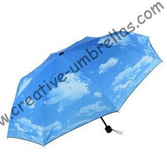 Parasol d'été, trois fois, design bleu ciel, main ouverte, coupe-vent, supermini, parapluies de poche, protection UV, revêtement de couleur