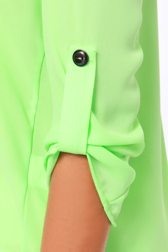 36e19d00260178 Free Shipping Plus Size Lemon Green Neon Color Women Blouse V neck Long  sleeve Low high Asymmetric Sweep Chiffon Shirt-in Blouses & Shirts from  Women's ...