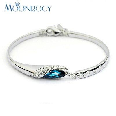 e2280683ab80 Moonrocy pulsera de cristal zirconia joyería al por mayor de cristal azul  brazalete regalo para las mujeres