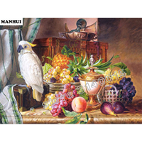 Handmade Needlework Diy Diamond Painting Kit Diamond Embroidery Full Rhinestone Fruit Bird Cross Stitch Diamond Painting