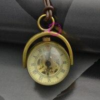 Moda de la buena calidad los hombres del hombre mujer niña dama unisex vintage retro cuerda de cuero bola de latón de bronce reloj de bolsillo mecánico hora