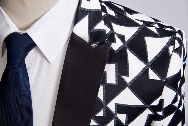 Black White Triangle Pattern Blazer Slim Fit Designs  2