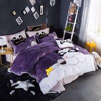4Pcs new winter Fleece fabric children cute panda Bedding sets Twin queen size quilt duvet cover bed sheet set pillowcase