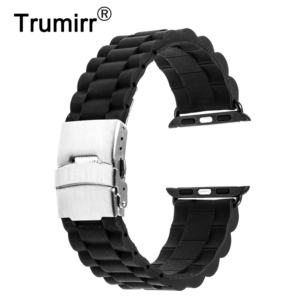 Silicone Rubber Band for 38mm 40mm 42mm 44mm iWatch Apple Watch Series 4 3 2 1 Stainless Steel Clasp Strap Watchband Bracelet цена