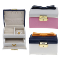 Luxury Two Tiers Drawer PU Leather Velvet Jewelry Box Cute Bowknot With Key Lockable Organizer Mini
