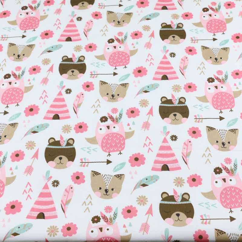 Tela de algodón de 160cm * 50cm con dibujo de oso, zorro, búho, flecha, tejidos para DIY, ropa de cama, almohada, Sábana, decoración hecha a mano, tela de retazos