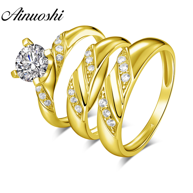 AINUOSHI 6.4g Real Gold TRIO Rings 10k Yellow Gold Couple Wedding Ring Set Twisted Design Lover Engagement Wedding Rings Jewelry