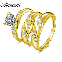 AINUOSHI Real Gold TRIO Rings Set 14K Yellow Gold Round SONA Diamond Engagement Bridal Rings Male Band Couple Wedding Rings Set