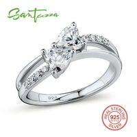 Nhẫn bạc cho Woman Engagement Wedding Ring Trắng CZ Nhẫn Nguyên Chất 925 Sterling Bạc Trang Sức Thời Trang