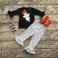 Ropa para niñas establece bebé boutique de niñas trajes de halloween ghost trajes negro polka dot colmena del pantalón con collar y arcos