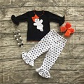 girls clothing sets baby halloween boutique outfits girls ghost outfits black polka dot ruffle pant with necklace and bows