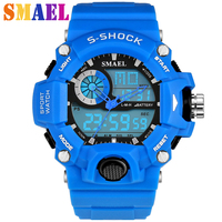 SMAEL Luxury Brand Sports Watches Shock Resistant Men LED Watch Military Digital Quartz Wristwatches Male LED