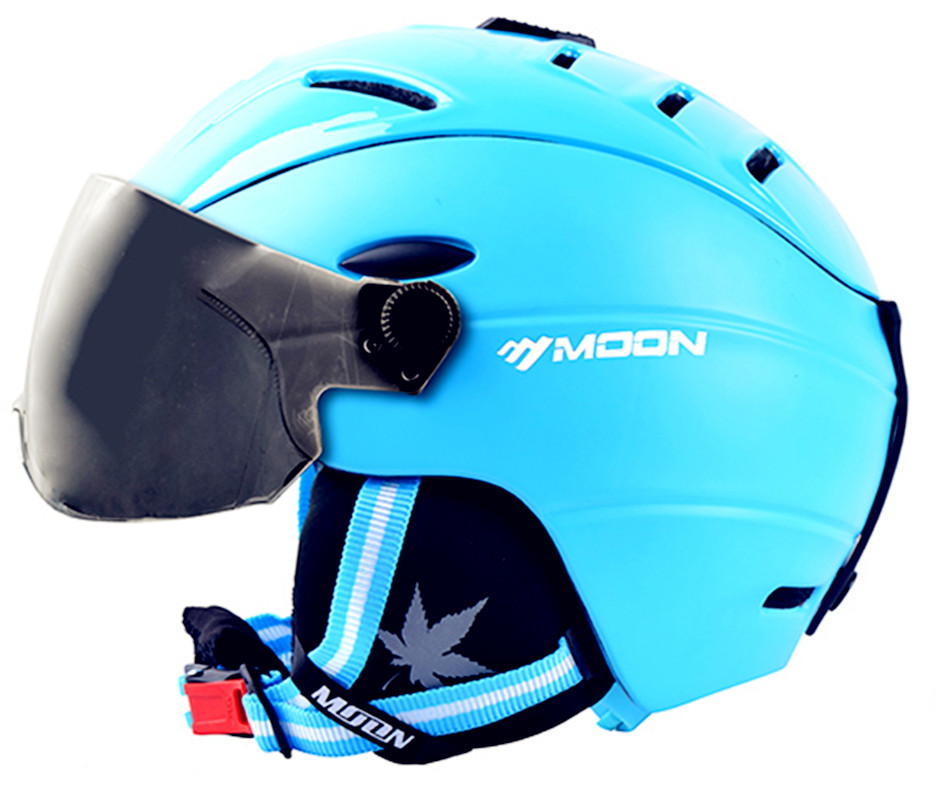 ФОТО MOON  Skiing Helmet with goggles Integrally-molded PC+EPS   Ski Helmet Outdoor  Ski Snowboard Skateboard Helmet S-XL 4 colors