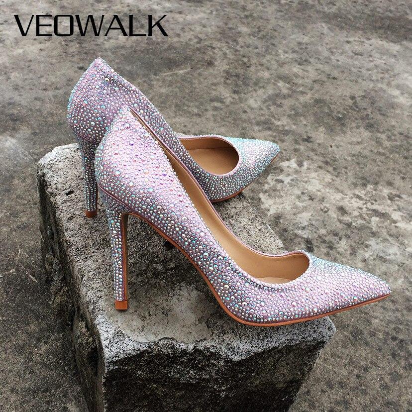 Veowalk Soft Leather Purple Bling Fashion Design Women's High Heel Pumps Sexy Rhinestone Stiletto Heels Party Shoes For Woman