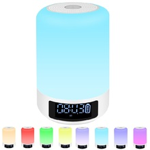 Colorful LED Light Bluetooth Speaker Portable Wireless Speaker Touch Control Music Sound Box Alarm Clock Night Lighting