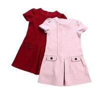 Girls Dress 2017 Autumn Winter Kids Warm Clothes O Neck False Pocket Design For Children Clothing