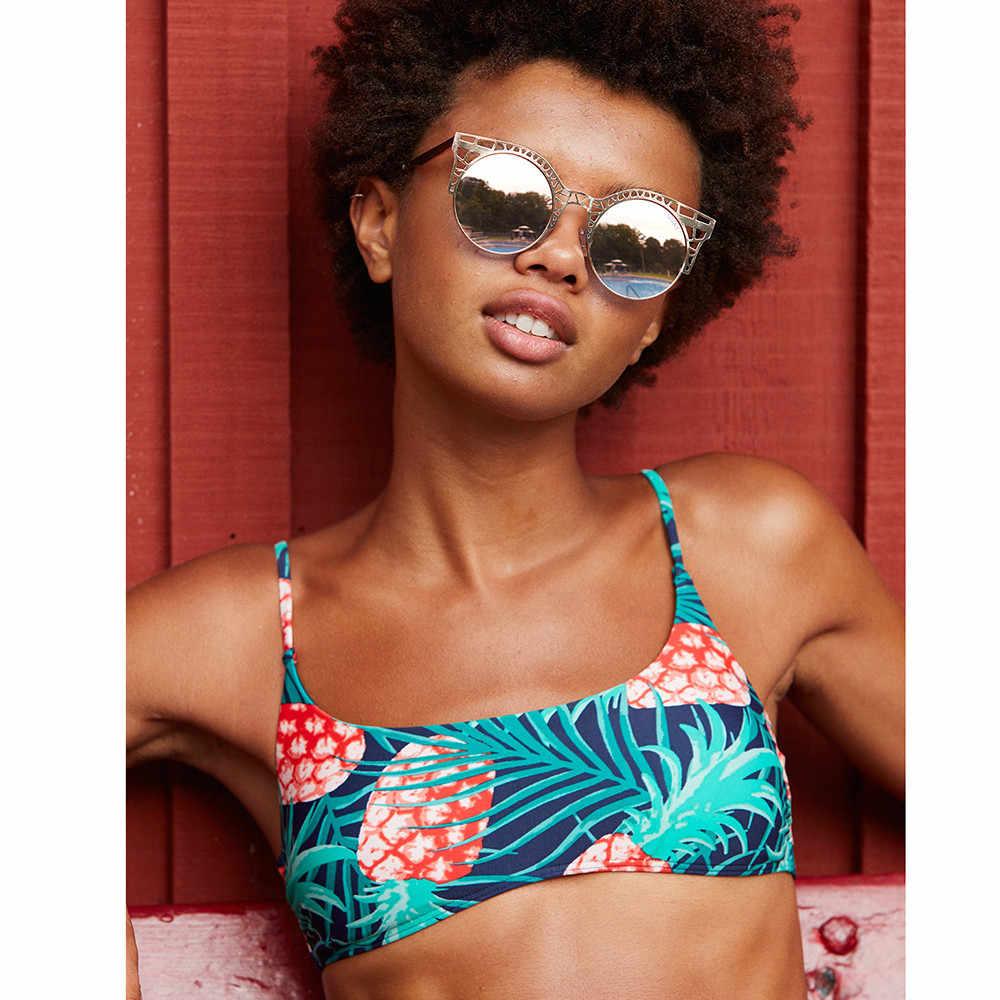 Bikinis mujer mujeres Bikini estampado piña Push-Up acolchado de ropa de dos piezas Bikini cintura alta de verano