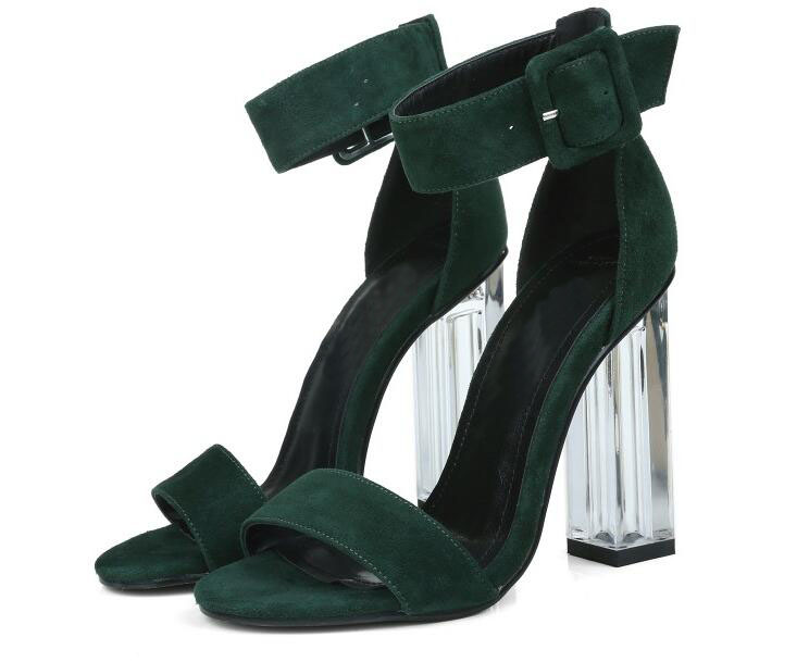 Zapatos mujer sandals women shoes with open toe buckle strap high chunky clear heels women's blue green black shoes Summer 2017