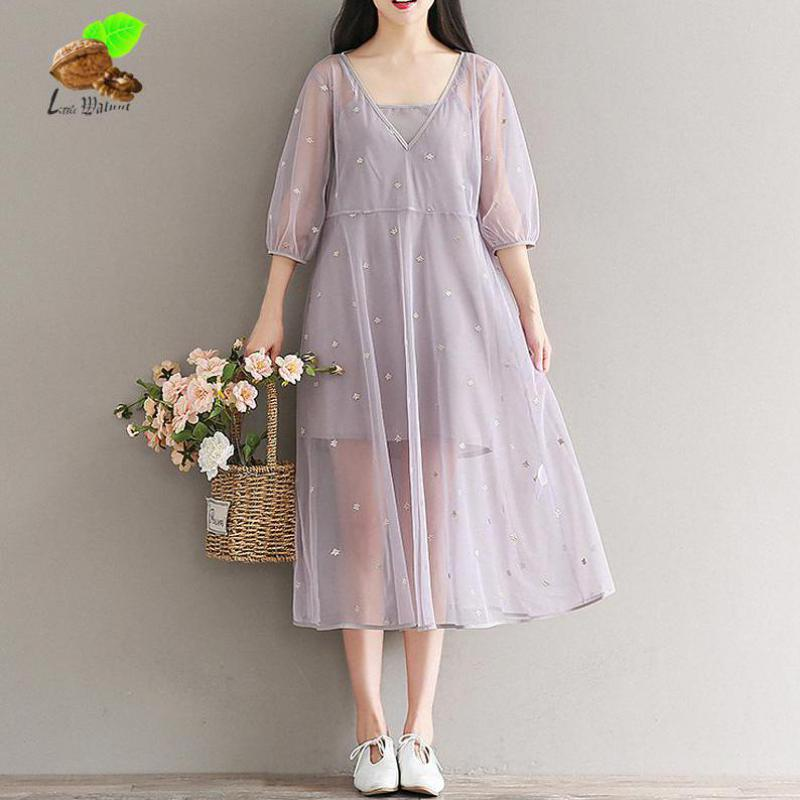 New Women Sweet Print Floral Embroidery Lantern Sleeve V-neck Summer Gauze Cute Desses Mori Female Two Piece Retro Purple Dress