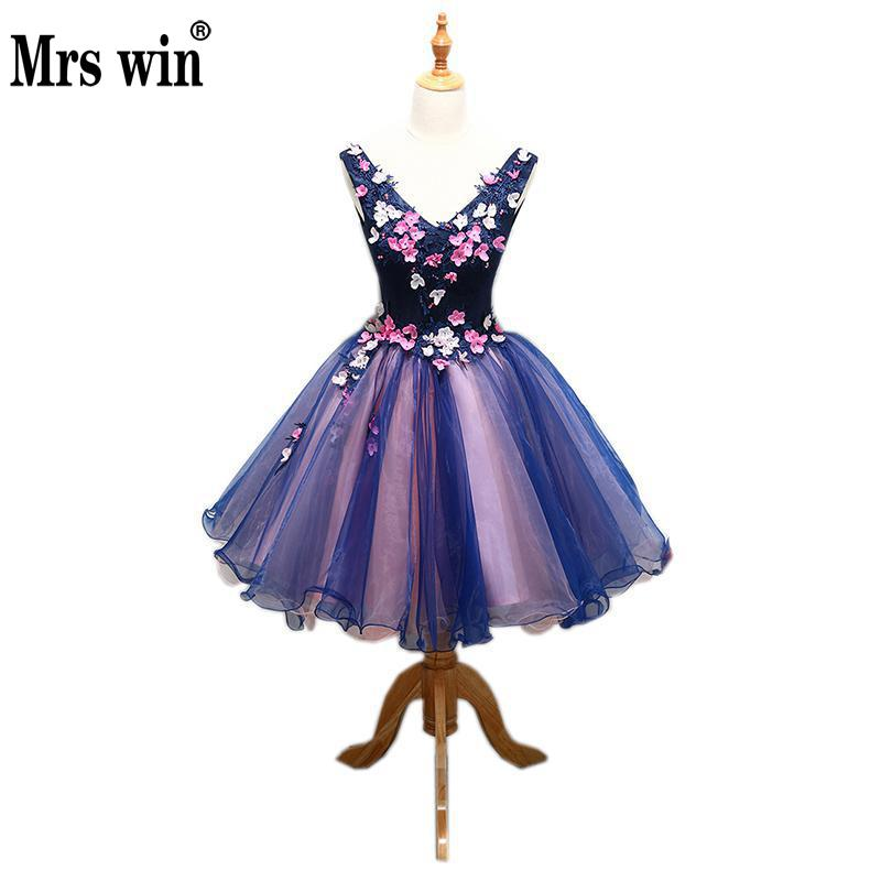 Prom Dress 2019 Mrs Win V neck Classic Flower Appliques Noble Mini Ball Gown Sweet Quinceanera