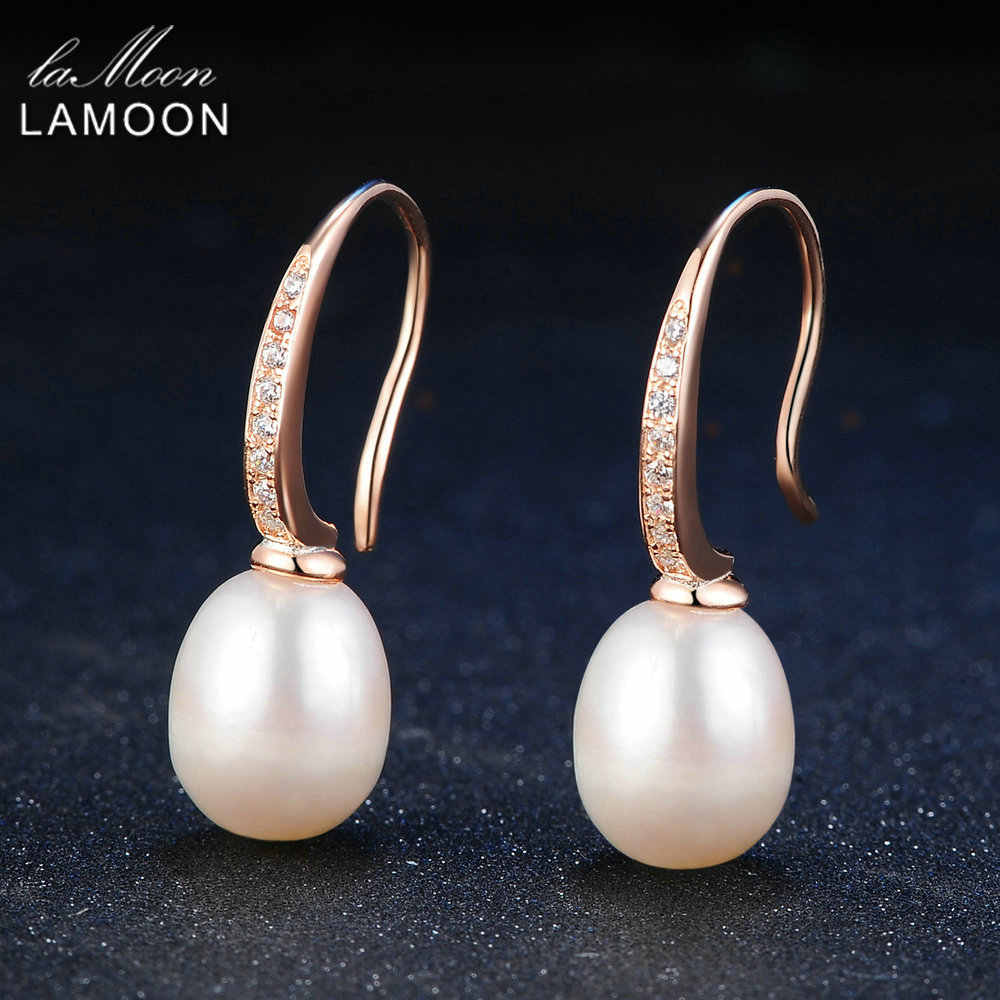 Lamoon 8mm 100% Natural Freshwater Pearl 925 Sterling Silver Drop Earrings Women Jewelry  S925 LMEI033