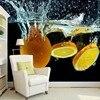 3D Wallpaper Custom Wall Mural Orange Fruit For Spill Creative Water Spray Clean Photo Wallpaper TV