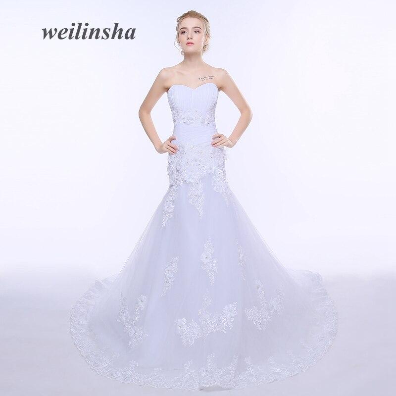 Weilinsha 2018 Luksusowe Suknie Ślubne Syrenka Księżniczka Tulle Robe De Mariage Custom Lace Białe Suknie Ślubne Vestido de Noiva