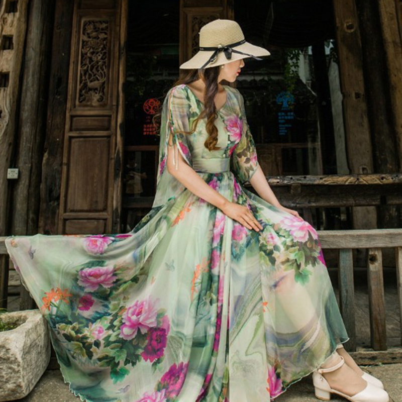 2018 Summer Floral Long Chiffon Maxi Dress Large Plus Size Celebrity   Graduation  Ceremony   Dinner Dress Beach Dresses YM427-in Dresses from Women s ... 386c18441269