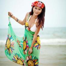 Summer Women Retro Floral Chiffon Bikini Cover Up Leisure Sexy Swimwear Beach Cover Up Bikini Dress Free Size 6 Colors