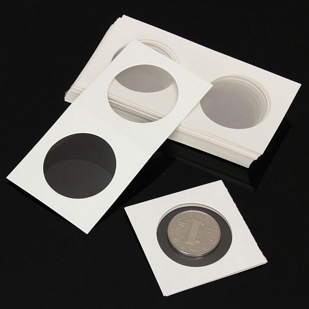 50 x Collapsible Cardboard Coin Holders Flips Mylar Coin Supplies 40mm White