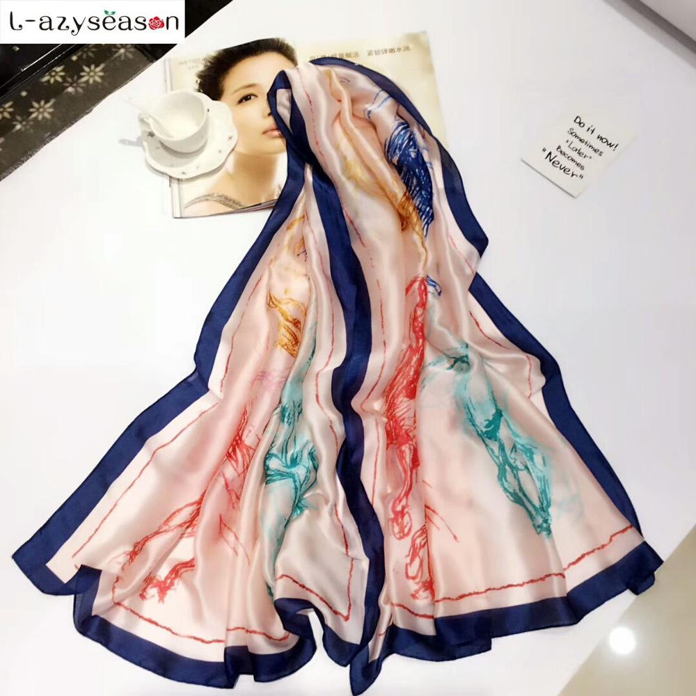 2018 Newest Summer Brand Silk Scarf women bandana horse style Lady's Luxury hijab shawl Long Scarves Fashion Wraps