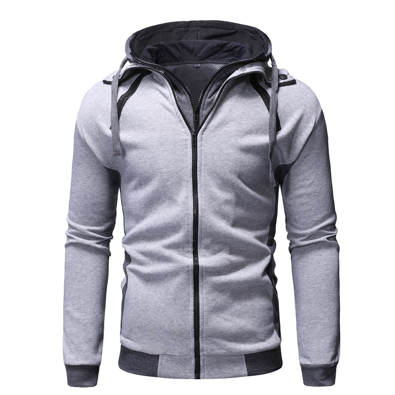 Zogaa 2019 Men Fit Zipper Fake 2 Pieces Hoodies Coat Warm Causal Solid Simple Jacket 4 Colors