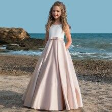 Tache une ligne robes de fille de fleur sans manches dos nu robe de première Communion pour filles 2019 nouveau Vestidos enfants Pageant robe de soirée