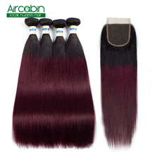 1B 99J Brazilian Straight Hair Weave Bundles With Closure 100% Human Hair Extensions 3 or 4 Bundles With Lace Closure Non Remy