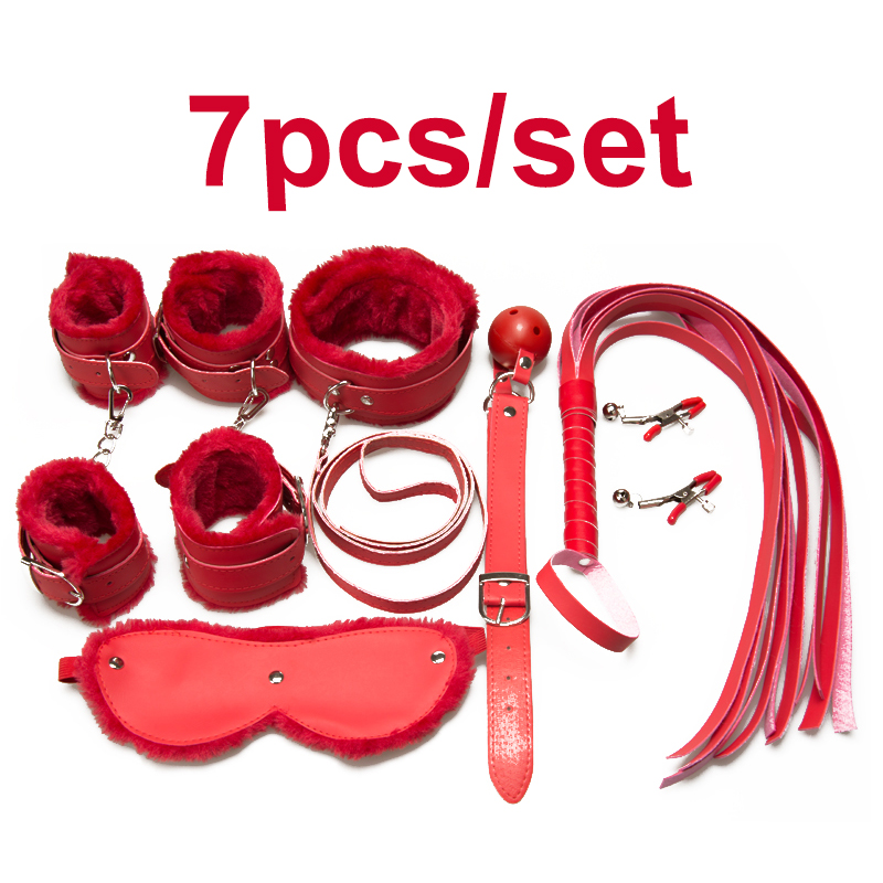 Adult Game 7Pieces kit Leather Fetish sex bondage Restraint Handcuff gag Queen Constume nipple clamps whip sex toy for couples 7pcs set black handcuffs gag nipple clamps whip collar erotic toy leather fetish sex bondage restraint sex toys for couples o3