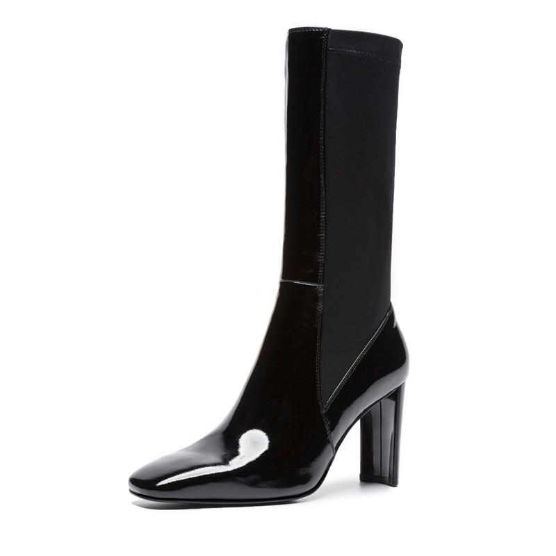 Black Femmes forme D'hiver Élasticité Automne Boot Naturel Genou De Véritable Plate Bottes Dames En Pour Mode Nouveau Cuir 2018 Vankaring lKJcF1T