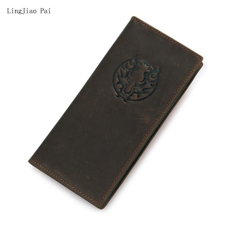 Lingjiao PAI cuero largo Cartera de viaje hecho a mano vintage tarjeta titular Carteras monedero