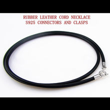 ALL-MATCH FIRM RUBBER LEATHER CORD NECKLACE WITH REAL 925 STERLING SILVER CONNECTORS &CLASPS for man women CHAINS rope thread(China)