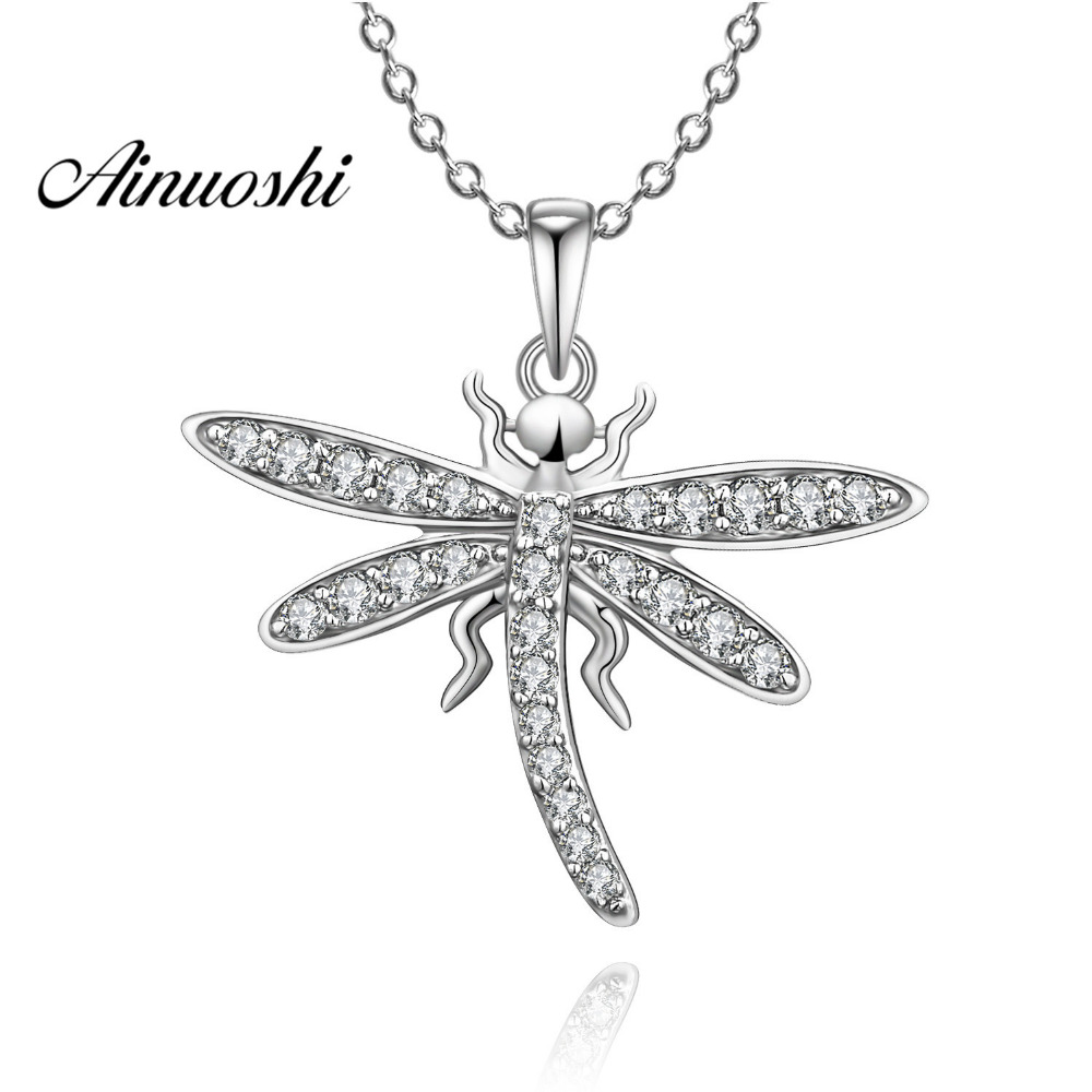 AINUOSHI Luxury 925 Sterling Silver Pendant Necklace for Women Animal Butterfly Girl Long Chain Necklace Wedding Silver Jewelry