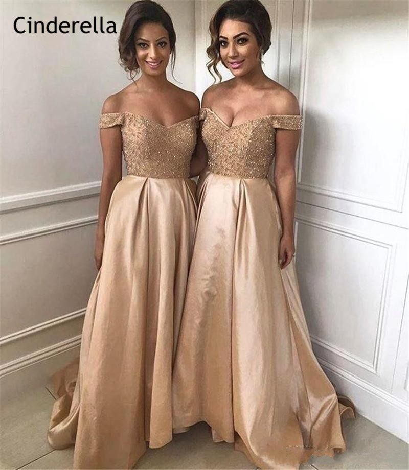 Cinderella Shining Gold Off The Shouder A-Line Crystal Beading   Bridesmaid     Dresses   Zipper Back Wedding Party   Bridesmaid   Gowns