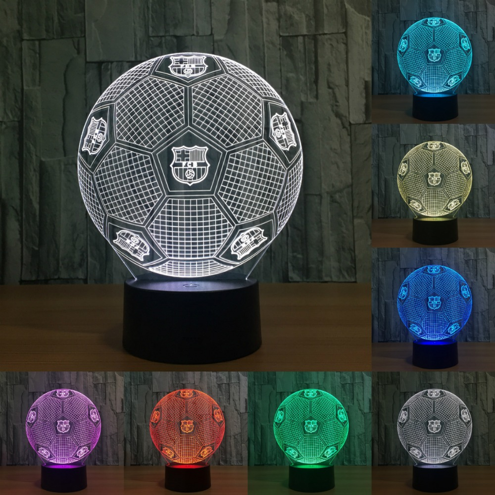 Creative 3D illusion Lamp LED Night Lights 3D football Discoloration Colorful Atmosphere Lamp Novelty Lighting IY803042